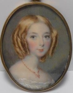 DELIGHTFUL EARLY 1800s PORTRAIT MINIATURE PRETTY GIRL named EMILY BAKER at 21