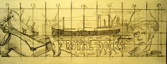 section 4 of the mural design showing a ship being brought into a dry dock, the SS Robin, the words Royal Docks and an image of the face of a Match Factory girl