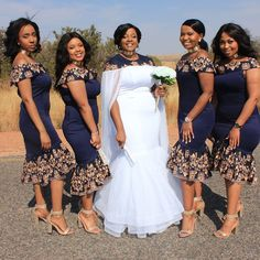 Charming Tea Length Navy African Bridesmaid robes Dresses Off shoulders short Sleeves Lace Cheap robes de demoiselle d honneur prom dress African Print Wedding Dress, African Bridesmaid Dresses, African Wedding Attire, African Print Dresses, African Attire, African Fashion Dresses, African Dress, Bridal Dresses, African Weddings