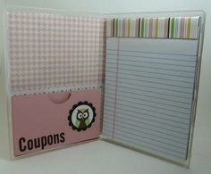 Coupon holder with grocery list, beautifully made from clear stamp case from  SU