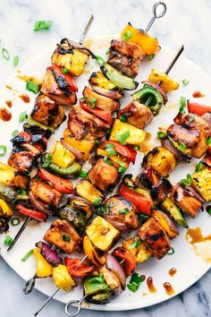 Grilled Hawaiian Teriyaki Chicken Skewers - perfect dinner idea for grilling season.