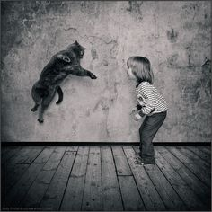 Looks like the cat about to lay down a reverse kick on the kid.    photo: Champion Jump   photographer: Andy Prokh