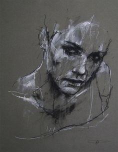 aaron-william:  seraphs-embrace-evolution:  Guy Denning ~ Charcoal & Chalk   DessinsJe te dessine du bout des yeux..À l'encre de mes pensées..Je ne colorie pas ta peau..Juste des contours et des traits..La forme de ton visage..Accentuer ton regard..Décrire ton paysage..Juste ta beauté sans fards..Aaron-