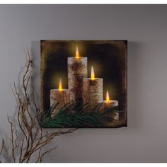 Enjoy the warm glow of our Lighted Birch Candle LED Wall Art. Four birch candles with four flickering flame LED's. From ancient times the birch tree has Lighted Canvas Pictures, Light Up Canvas, Canvas Lights, Wall Decor Lights, Candle Branding, Christmas Candles, Christmas Crafts, Christmas Decorations, Christmas Porch