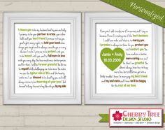 8x10 Wedding Vows Modern Typography Prints by CherryTreeDesignSt
