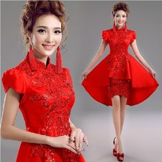 Fashionable-New-Short-Sleeve-Front-Short-Back-Long-Prom-dresses-2015-chinese-traditional-dress-cheongsam-qipao.jpg 610×611 pixels