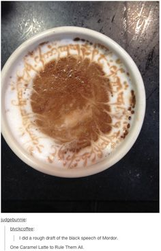 ONE CARAMEL LATTE TO RULE THEM ALL...wow, just wow!! I'm absolutely speechless!