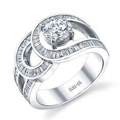 18k white gold ring with round diamond center stone, Elma Gil