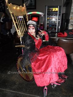 Awesome Wheelchair Costume: Queen of Hearts and her Golden Throne... Coolest Halloween Costume Contest
