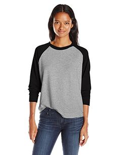 Michelle by Comune Juniors Bermondsey Color Block Long Sleeve Sweatshirt Heather GreyBlack Small * Click on the image for additional details.