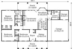 Country Style House Plan - 3 Beds 2 Baths 1688 Sq/Ft Plan #406-274 Floor Plan - Main Floor Plan - Houseplans.com