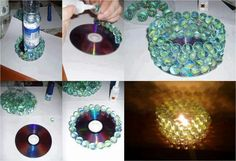 Turn your old cds into a candle holder!