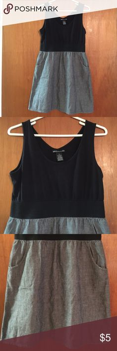 Sixteen Dress Black top with elastic waist and black jean looking bottom with pockets Sixteen Dresses Midi