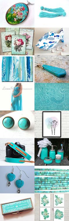 Turquoise trend by Natalie D on Etsy--Pinned with TreasuryPin.com #Estyhandmade #giftideas #freshideas