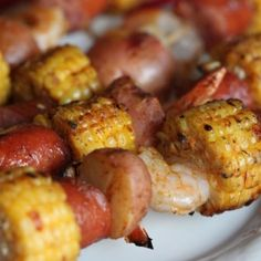 Shrimp Boil Kabobs - The flavors of a shrimp boil in a kabob! An easy and delicious recipe!