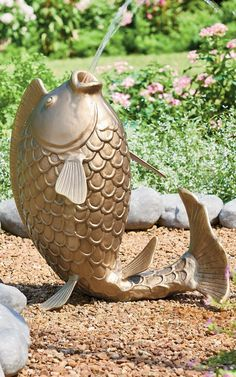 Hook up your garden hose to our Fish Garden Fountain and let him work his charm in your flower bed. Adorable and works swimmingly as a watering mechanism for smaller ground plants. Fish Garden, Garden Oasis, Garden Hose, Lawn And Garden, Garden Mirrors, Garden Windows, Garden Statues, Garden Sculpture, Fish Pool