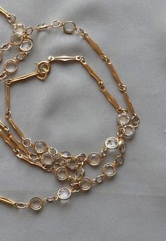 Vintage Bezel Set Clear Crystal Bead Gold by jewelrybyloisjoan