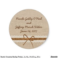 Rustic Country Burlap Twine Wedding Classic Round Sticker