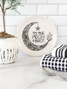 To The Moon & Back Plate New Baby Room Decor Hand Painted | Etsy Ceramic Plates, Decorative Plates, Baby Plates, Birthday Plate, Pottery Gifts, Black And White Baby, Hand Drawn Lettering, Wedding Vases, Newlywed Gifts