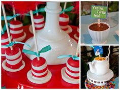 Dr. Seuss hat pops!  Great idea for Dr. Seuss day (hint, hint teachers & parents)!  another one from the Dr. Seuss baby shower as featured on pizzazzerie.com.