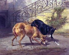 onika Dahncke Roshanzamir Scottish Deerhound and English Greyhound one of Carl Steffeck's (1818-1890) master pieces.