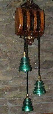 Handcrafted Antique Block and Tackle/Insulator Pendant light fixture in Home & Garden, Lamps, Lighting & Ceiling Fans, Chandeliers & Ceiling Fixtures Pendant Light Fixtures, Steampunk Lighting, Pulley Light, Glass Insulators, Lamp, Block And Tackle, Cool Lighting, Vintage Lamps, Insulator Lights
