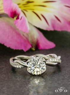 Delicate Twisting Diamond Engagement Ring #GreenLakeJewelry