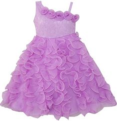 Sunny Fashion Girls Dress Purple Shoulder Fashion Rose Wedding Pageant 6 -- Read more  at the image link.
