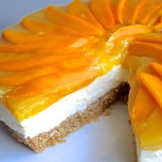 No-Bake Mango Cheese Cake Recipe @keyingredient #cake #cheese #nobake #cheesecake