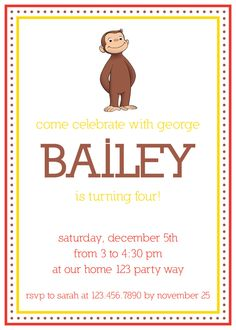 Curious George birthday invitation.