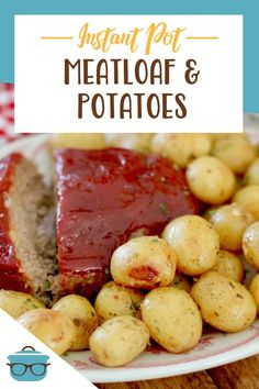 Instant Pot Meatloaf and Garlic Parmesan Potatoes is a whole meal made right in the electric pressure cooker. Tender, flavorful glazed meatloaf and perfectly seasoned potatoes. Garlic Parmesan Potatoes, Seasoned Potatoes, Meatloaf Glaze, Best Pressure Cooker Recipes, Meatloaf Ingredients, Little Potatoes, Country Cooking, Southern Recipes, Recipe Using