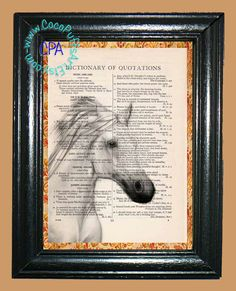 White Horse Art - - Vintage Dictionary Book Page Art-Upcycled Page Art,Wall Art,Collage Art, Equine Art - Horse Print by CocoPuffsArt on Etsy