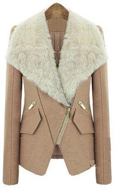 Abrigo+solapa+pelo+cremallera+oblicua+manga+larga-Camello+EUR€33.84