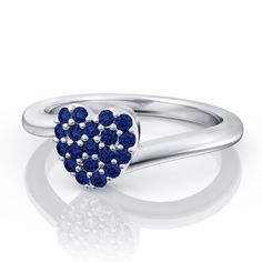 .19ctw Blue Sapphire Pave Set Heart Gemstone Fashion Ring in 14k White Gold