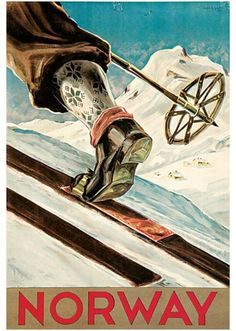 Shop Norway The Home of Skiing Vintage Travel Poster Postcard created by VintageCornerStore. Ski Vintage, Party Vintage, Vintage Ski Posters, Retro Poster, Poster Poster, Travel Ads, Kunst Poster, Norway Travel, Cross Country Skiing