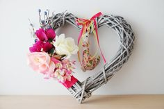 Duck and flowers wreath wicker heart shaped by ArktosCollectibles
