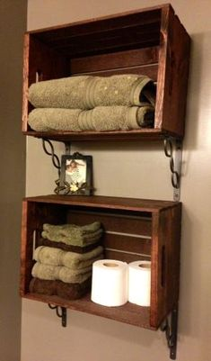 Bathroom shelves made out of crates by antonia