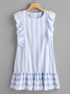 SheIn offers Contrast Striped Frill Trim Dress & more to fit your fashionable needs. Simple Dresses, Cute Dresses, Casual Dresses, Short Dresses, Girls Dresses, Summer Dresses, Dress Outfits, Tunic Dresses, Sleeve Dresses