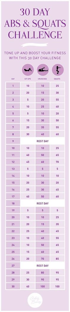 30 day abs and squats challenge. awesome Bikini body workout. Want more?...... - Life And Shape