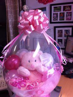 Stuffed balloon gift for a new born baby girl. Balloon Crafts, Balloon Gift, Balloon Decorations, Large Balloons, Custom Balloons, Cute Baby Gifts, Valentines Flowers, Balloon Columns, Baby Shower Balloons