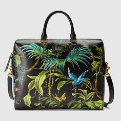 Gucci Hombre - Maletín de piel con estampado tropical - 387074DLP1T3161  Estampados Tropicales 52645c7a51f