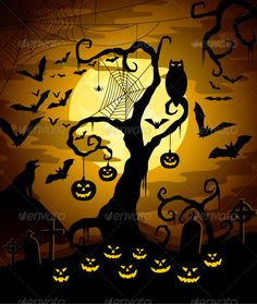 Buy Halloween Night by Djahan on GraphicRiver. Halloween Artwork, Halloween Painting, Halloween Trees, Halloween Wallpaper, Halloween Night, Scary Halloween, Vintage Halloween, Fall Halloween, Happy Halloween