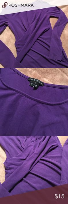 Theory ruched top This theory top is great, I always got compliments on it. Crossbody ruching. Very good condition. Very slight marking in arm pit area. Theory Tops