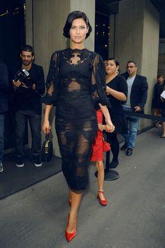 la modella mafia Bianca Balti red carpet chic in a sheer lace Dolce & Gabbana dress with red pumps 1