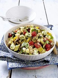 Noodle salad with fresh tomatoes, grilled veggies and mozzarella