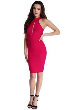 WOMEN'S KEYHOLE CUTOUT MIDI DRESS, CERISE COLOUR.size M. NBWT #CITYGODDESSS #BodyconDress #Party
