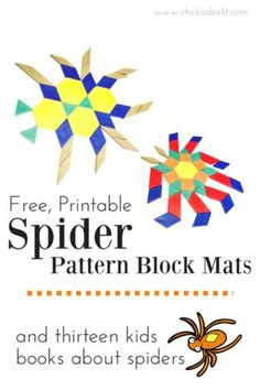 Creepy-Crawly Pattern Block Mats and 13 Spider Books for Kids—Click through to print  creepy-crawly pattern block mats in four different spider shapes. The printable includes pattern blocks to cut out yourself and is based on standard-size blocks if you h