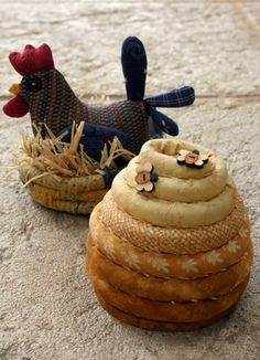 Country Pincushions (beehive and hen)