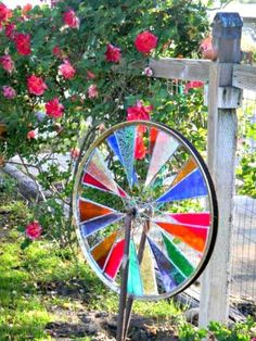 DIY Stained Glass Garden Spinner - 10 Amazing DIY Repurposed Bicycle Wheel Ideas - DIY & Crafts