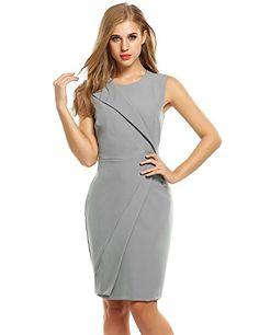 ZEARO Damen Kleid beiläufige O-Ausschnitt Ärmellose hohe Taillen-feste  Kleider mit Futter Figurbetontes
